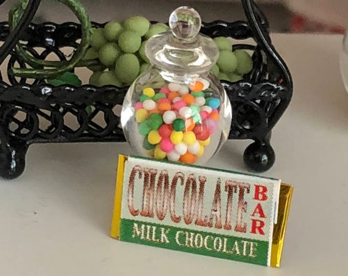 Miniature Candy, Filled Candy Jar and Candy Bar Set, Dollhouse Miniature, 1:12 Scale, Dollhouse Accessory, Decor, Mini Food, Crafts
