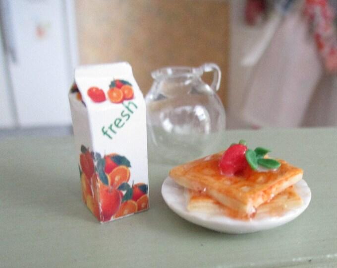 Miniature Waffles And Juice Carton, Mini Breakfast Waffles On Plate, 2 Piece Set, Dollhouse Miniatures, 1:12 Scale, Dollhouse Food