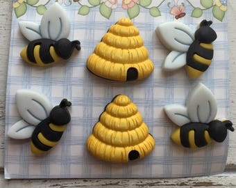 "Bee and Hive Buttons, ""Busy Bees"" by Buttons Galore, #SF100, Carded set of 6, Shank Back Buttons, Embellishments, Crafting, Sewing"
