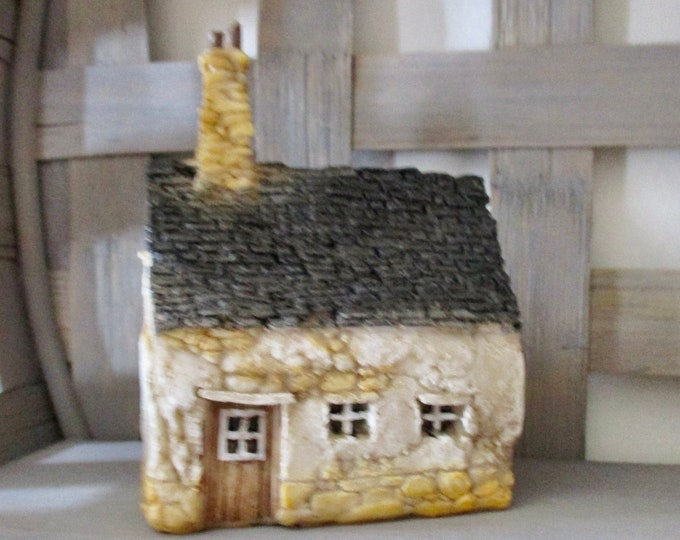 Mini House, House With Chimney, Style #10, Resin House, For Fairy Garden, Decoration, Shelf Sitter, Mini House