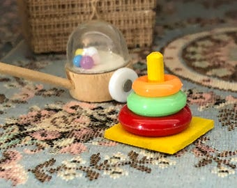 Miniature Stacking Toy, Mini Toy, Dollhouse Miniature, 1:12 Scale, Dollhouse Accessory, Decor, Crafts, Topper