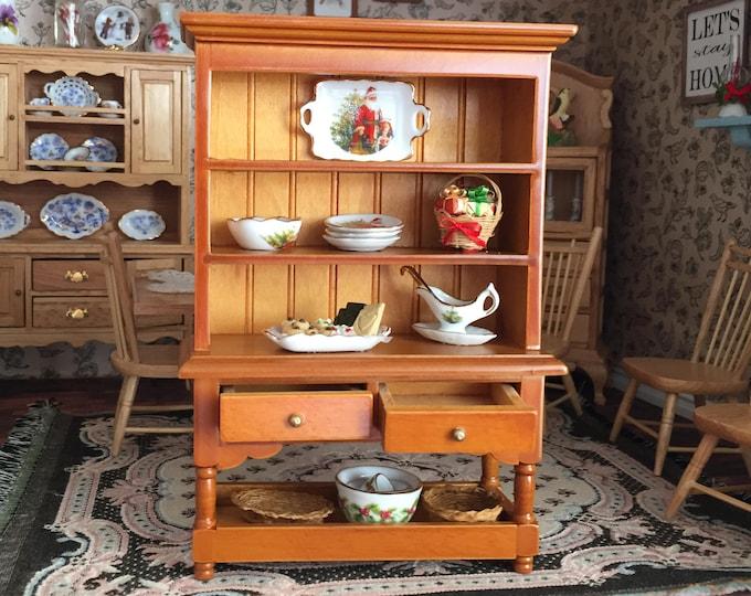 Miniature Hutch, Walnut Wood Hutch With 2 Drawers and Bottom Shelf #60, Dollhouse Miniature Furniture, 1:12 Scale