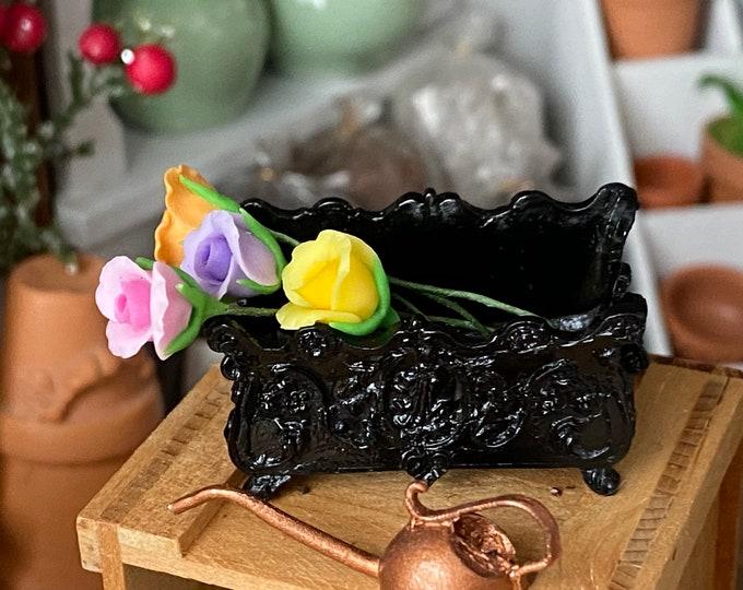 Miniature Window Box, Small Black Ornate Footed Window Box Planter, Style #63BK, Dollhouse Miniature, 1:12 Scale, Dollhouse Accessory