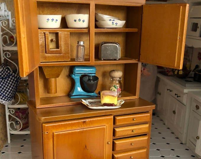 Miniature Flour Bin Hutch, Walnut Wood Hutch, Dollhouse Miniature, 1:12 Scale, Dollhouse Furniture, 4 Drawer, 3 Door Hutch