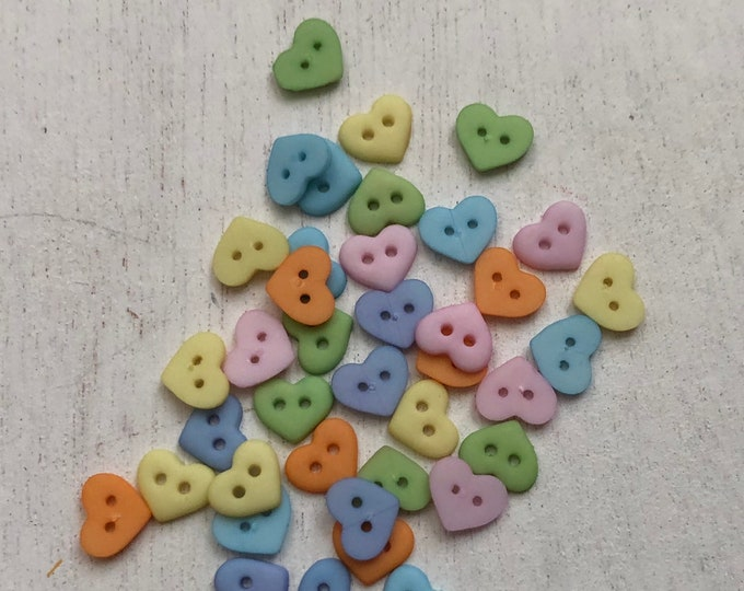 Heart Buttons, Tiny 7mm Pastel Heart Buttons by Buttons Galore, #1828,  Packaged 2 Hole Heart Buttons, Sewing, Crafts, Embellishments
