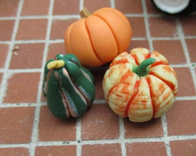 Miniature Pumpkin Gourds, 3 Piece Set, Dollhouse Miniature, 1:12 Scale, Dollhouse Accessory, Fall Decor, Crafts