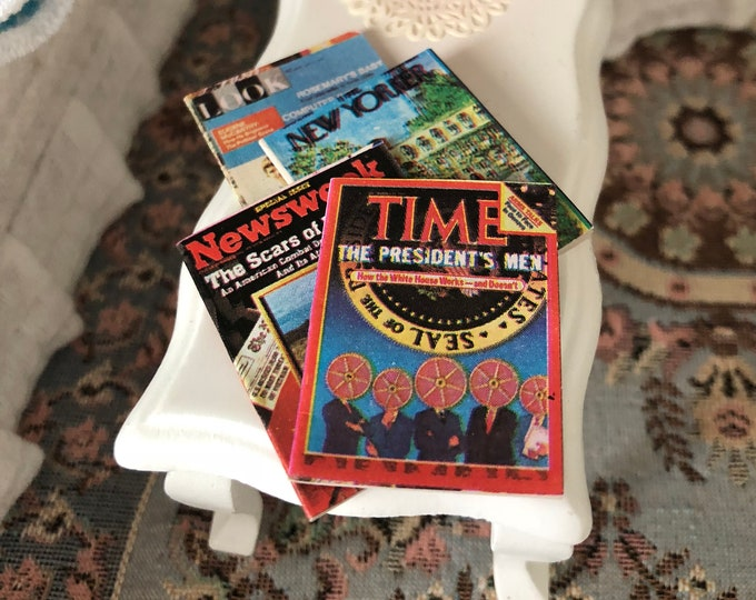Miniature Magazines, Set of 4 Magazines with Text and Photos, Dollhouse Miniatures, 1:12 Scale, Mini Magazines, Dollhouse Accessories