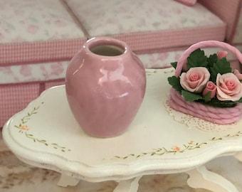 Miniature Pink Vase, Dollhouse Miniature, 1:12 Scale, Mini Flower Vase, Ceramic Vase, Dollhouse Accessory, Decor, Crafts