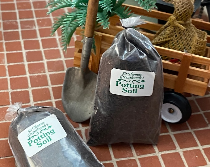 Miniature Potting Soil, Mini Garden Soil, Bag of Soil, Dollhouse Miniature, 1:12 Scale, Miniature Gardening Products, Accessories