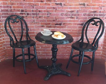 Miniature Cafe Table and Chair Set, Bistro Table and Chair Set, 3 Metal Pieces,  Dollhouse Miniature, Dollhouse Furniture, 1:12 Scale
