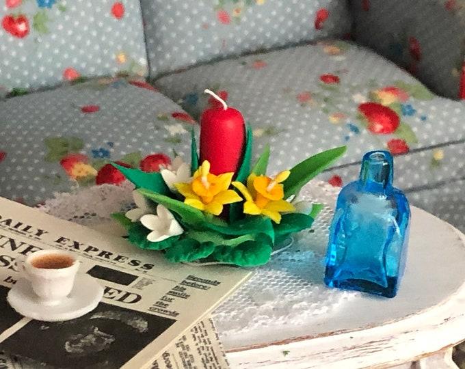 Miniature Square Glass Bottle, Blue Mini Bottle, Dollhouse Miniature, 1:12 Scale, Dollhouse Accessory, Decor, Mini Glass Bottle