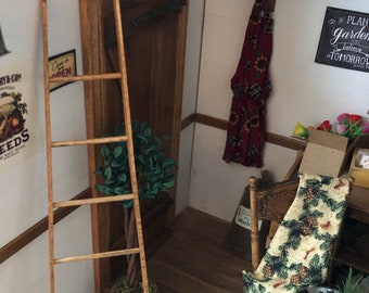 Miniature Wood Ladder, Hand Crafted Miniature, Dollhouse Miniature, 1:12 Scale, Dollhouse Accessory, Decor, Wood Ladder