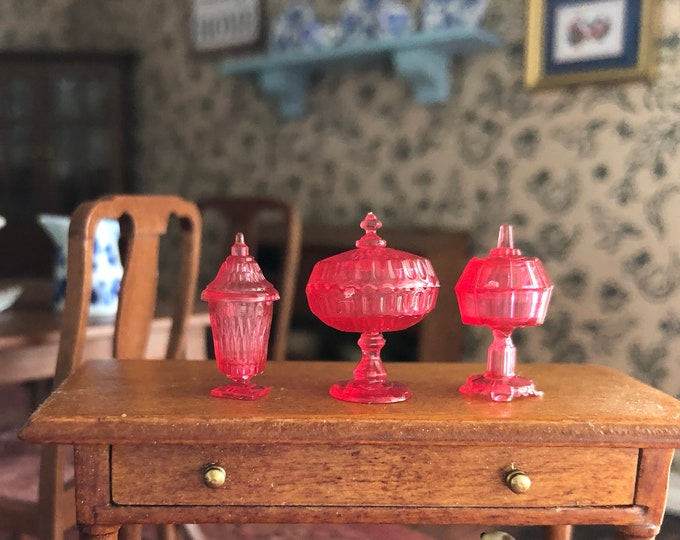 Miniature Candy Dish Set, Cranberry Colored Candy Dishes, Set of 3 With Lids, Dollhouse Miniatures, 1:12 Scale, Dollhouse Accessories