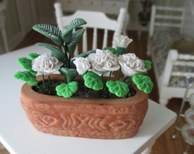 Miniature Flower Arrangement in Terra Cotta Oval Planter, Style #73, Dollhouse Miniature, 1:12 Scale, Dollhouse Flowers, Mini Garden Decor