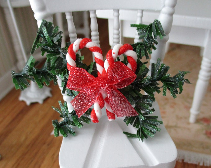 Miniature Candy Cane Swag, Holiday Wall Decoration, Red Bow and Candy Canes, Style #06, Dollhouse Miniature, 1:12 Scale, Dollhouse Accessory