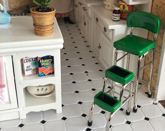 Miniature Stool, Green Metal Stool With Step Stool, Retro Style Stool, Kitchen Stool, Dollhouse Miniature Furniture, 1:12 Scale