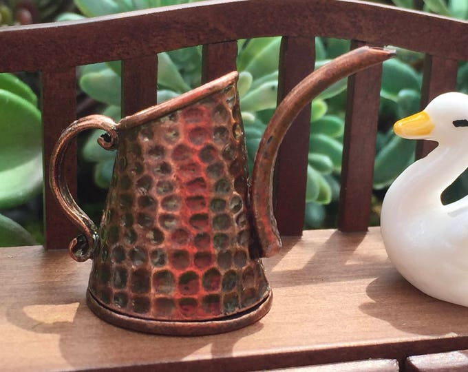 Miniature Copper Watering Can, Antique Look Watering Can, Dollhouse Miniature, 1:12 Scale, Dollhouse, Fairy Garden Accessory