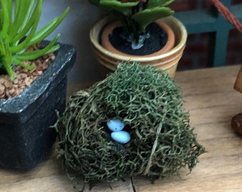 Miniature Nest With Eggs, 2 Blue Eggs in Nest, Dollhouse Miniature, Accessory, Decor, Crafts, Topper, Embellishment, Little Nest