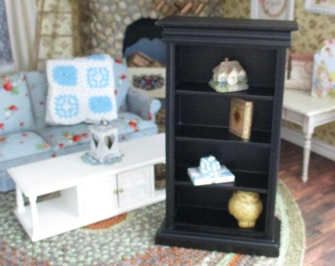 Miniature Bookshelf, Mini Black Wood Book Case Shelf, Dollhouse Miniature Furniture, 1:12 Scale, Dollhouse Shelves, Mini Bookshelf