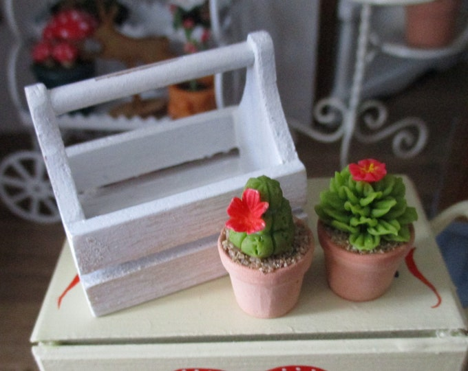Miniature Cactus And Wood Caddy Set, 2 Mini Cactus In Flower Pots With Distressed Painted Wood Caddy, Dollhouse Miniatures, 1:12 Scale