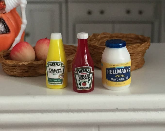Miniature Condiments, Ketchup, Mustard and Mayo Jar, Dollhouse Miniatures, 1:12 Scale, Miniature Food, Pretend Food, Dollhouse Accessories