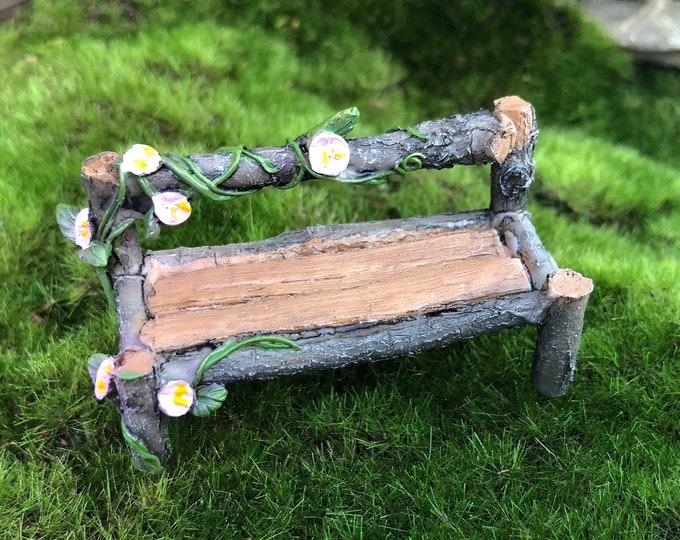 Mini Wood Bench, Wood Look Bench With Flowers #88, Fairy Garden Accessory, Garden Decor, Miniature Garden Decor, Shelf Sitter, Topper