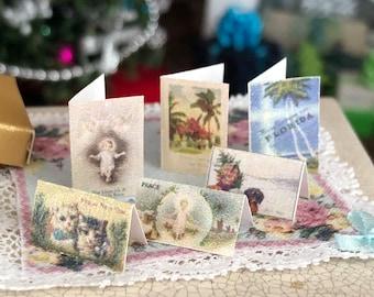 Miniature Cards, Christmas Card Set, 6 Pieces, Dollhouse Miniature, 1:12 Scale, Holiday Decor, Miniature Accessories