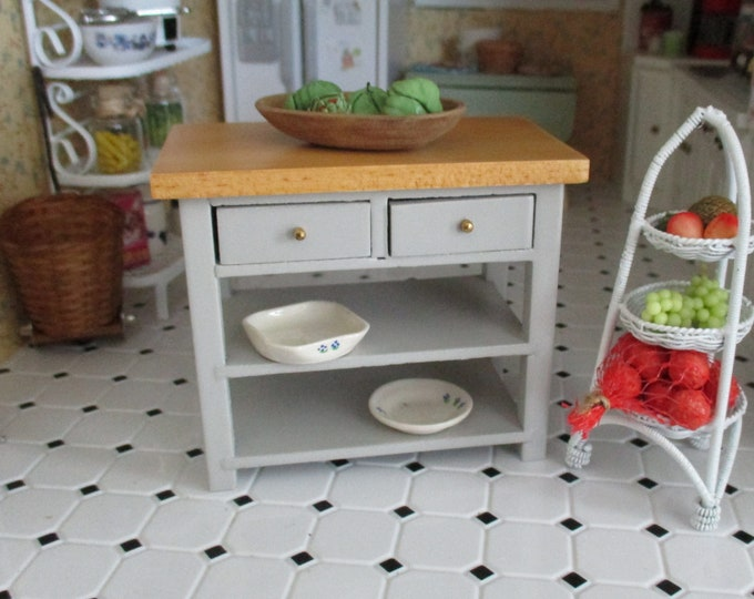 Miniature Kitchen Work Table, Mini Gray Table With Bottom Shelf And Drawers, CLEARANCE Priced, Dollhouse Miniature, 1:12 Scale, Mini Table