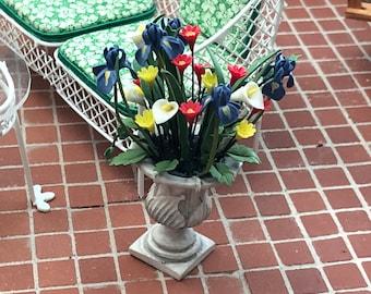 Miniature Flowers, Flower Arrangement in Planter, Style 89, Dollhouse Miniature, 1:12 Scale, Iris, Lily Mini Flowers, Garden Planter