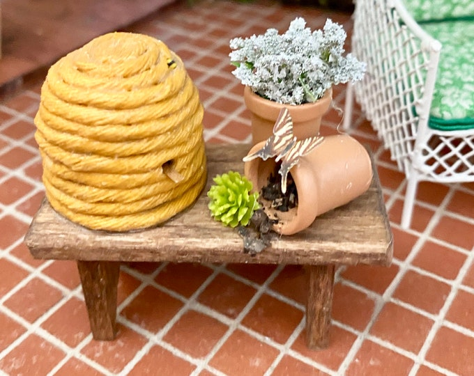 Miniature Decorated Wood Bench With  Beehive, Flower Pots, Butterfly, Style #2 Dollhouse Miniature, 1:12 Scale