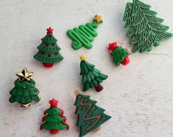 """Christmas Tree Buttons, Packaged Novelty Buttons by Buttons Galore, """"O' Tannenbaum"""" Style 4686, Shank Back and Flat Button Embellishments"""