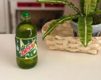 Miniature Soda Pop Bottle, Lemon Lime Dew Bottle, Looks like 2 Liter Bottle, Dollhouse Miniature, 1:12 Scale, Mini Soda Bottle