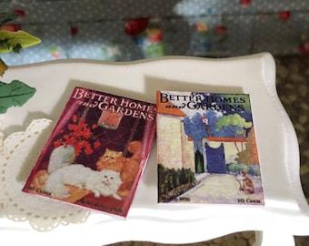 Miniature Magazines, Home and Garden Magazines, Set of 2, Dollhouse Miniature, 1:12 Scale, Dollhouse Accessory, Decor
