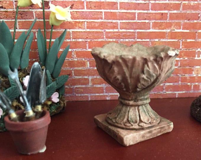 Miniature Planter, Acanthus #06 Aged Look Mini Planter, Dollhouse Miniature, 1:12 Scale, Mini Planter, Home and Garden Accessory Decor