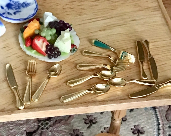 Miniature Silverware, Gold Flatware, Mini Cutlery, Dollhouse 1:12 Scale Miniatures, 12 Piece Utensil Set, 4 forks, 4 spoons, 4 knives