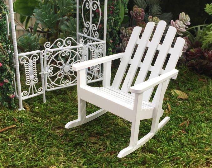 Miniature Adirondack Rocking Chair, White Wood Rocker, Dollhouse Miniature Furniture, 1:12 Scale, Miniature Garden Decor