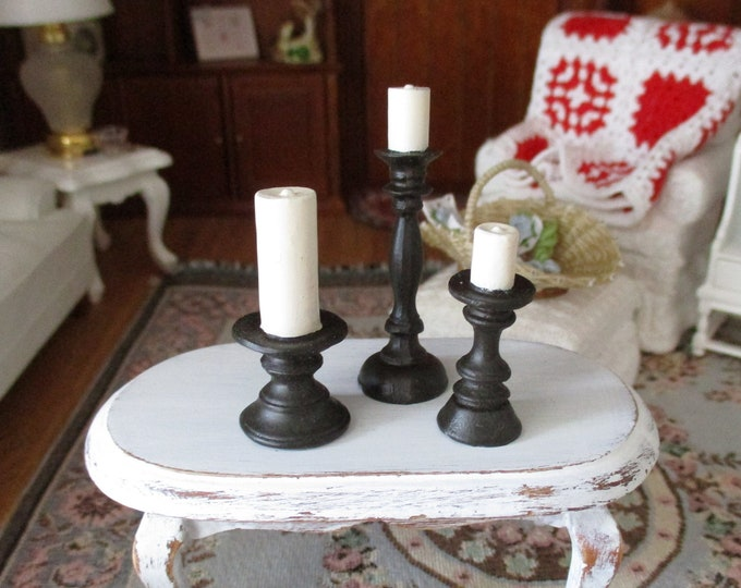 Miniature Black Candlestick Candle Set, 3 Piece Set, Pillar Candles on Candlesticks, Dollhouse Miniatures, 1:12 Scale, Dollhouse Decor
