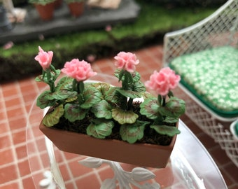 Miniature Geraniums, Pink Geraniums in Clay Look Window Box #56, Dollhouse Miniature, 1:12 Scale, Dollhouse Accessory, Home & Garden Decor