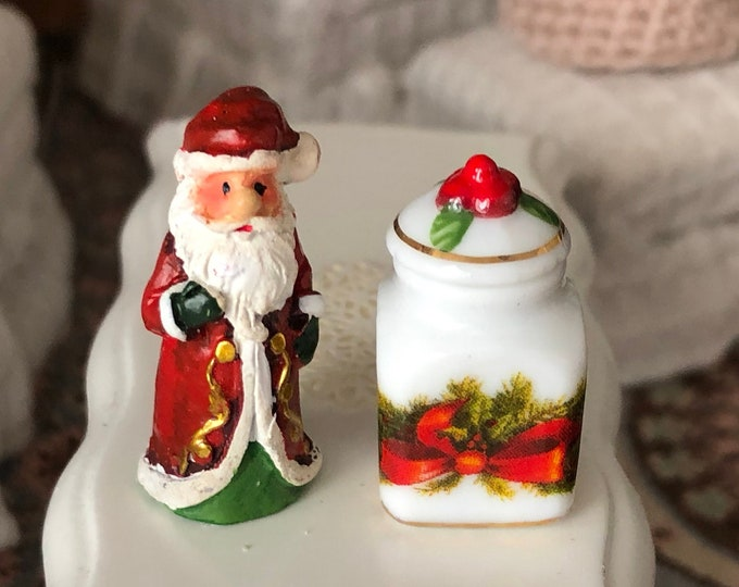 Miniature Santa Figurine and Cookie Jar Set, by Reutter Porcelain, Clearance Priced, Dollhouse Miniature, 1:12 Scale, Holiday Decor
