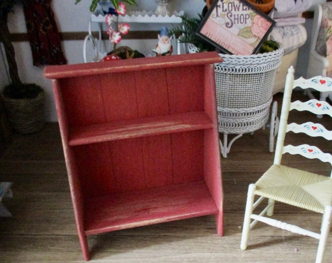 Miniature Red Distressed Bucket Bench, Wood Shelves, Hand Crafted Shelves, Dollhouse Miniature, 1:12 Scale, Dollhouse Furniture
