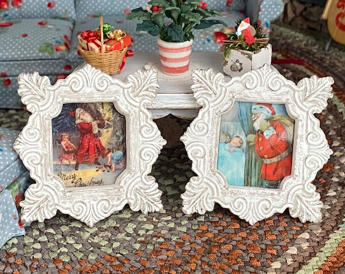 Miniature Framed Vintage Look Santa Claus Pictures, 2 Pc Set, White Frames, Dollhouse Miniatures, 1:12 Scale, Holiday Decor, Accessories