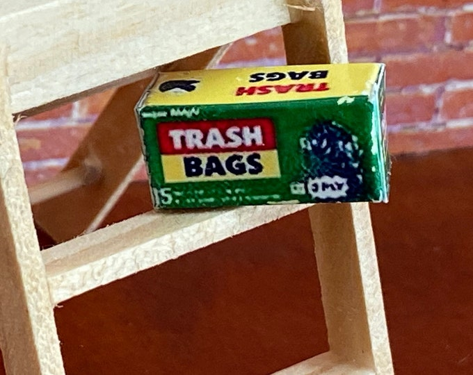 Miniature Trash Bags, Mini Trash Bag Box, Dollhouse Miniatures, 1:12 Scale, Dollhouse Decor, Accessory, 1 Inch Scale Mini