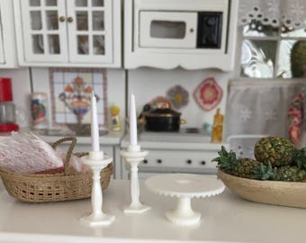 Miniature White Cake Stand and Candle Set, 3 Piece Set, Dollhouse Miniature, 1:12 Scale, Dollhouse Accessory, Decor, Topper, Crafting