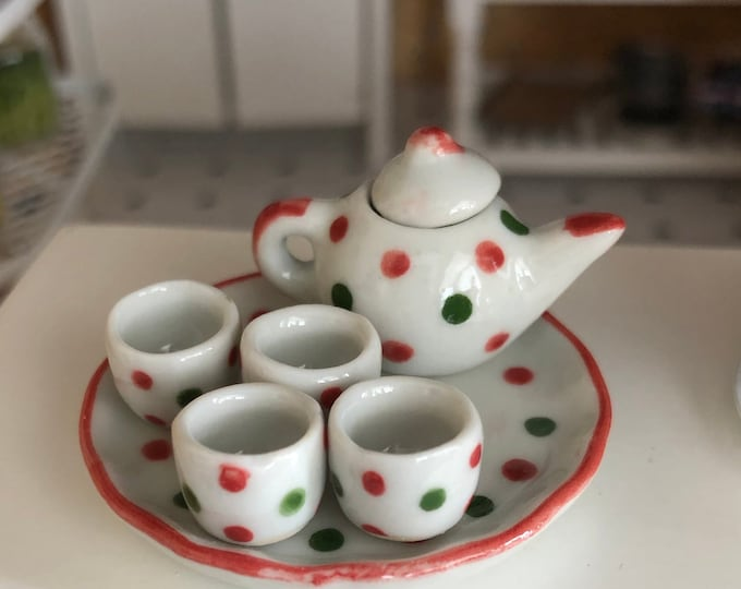 Miniature Tea Set, Green and Red Polka Dot Tea Set, 7 Piece Set, Ceramic Christmas Color Mini Tea Set, Dollhouse Miniature, 1:12 Scale