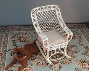 Miniature Rocking Chair, Bar Harbor Style Rocker With Cushion,  White Metal Chair, Dollhouse Miniature Furniture, 1:12 Scale, Mini Rocker