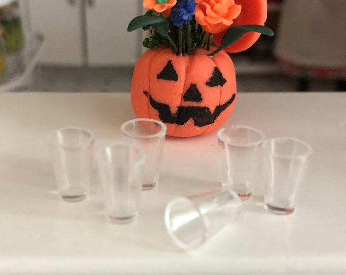 Miniature Glasses, Set of 6, Style #34, Miniature Drinking Glasses, Dollhouse Miniature, 1:12 Scale, Dollhouse Glasses