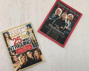 Miniature Magazines, Dollhouse Miniature, 1:12 Scale, Dollhouse Accessory, Decor, Mini Entertainment Magazines, Set of 2