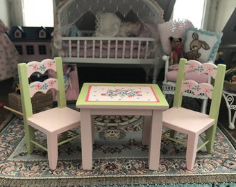 Miniature Child Table & Chair Set, Pink and Green Painted Children's Table With Mice, Dollhouse Miniature, 1:12 Scale, Dollhouse Furniture