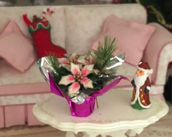 Miniature Poinsettia and Greenery in Foil Wrapped Flower Pot, Pink Poinsettia, Dollhouse Miniature 1:12 Scale, Holiday Decor