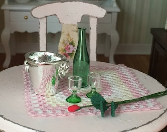 Miniature Champagne Wine Set, Glass Bottle, Ice Bucket, Rose, 2 Glasses, Dollhouse Miniatures, 1:12 Scale, Dollhouse Accessory, Decor